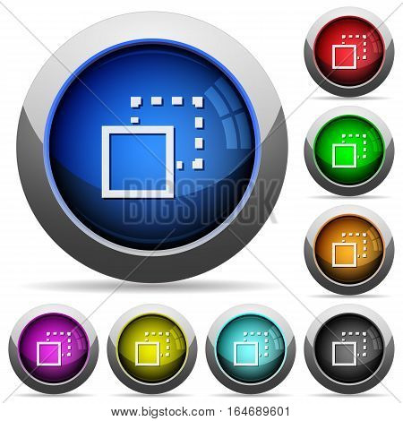 Send to back icons in round glossy buttons with steel frames