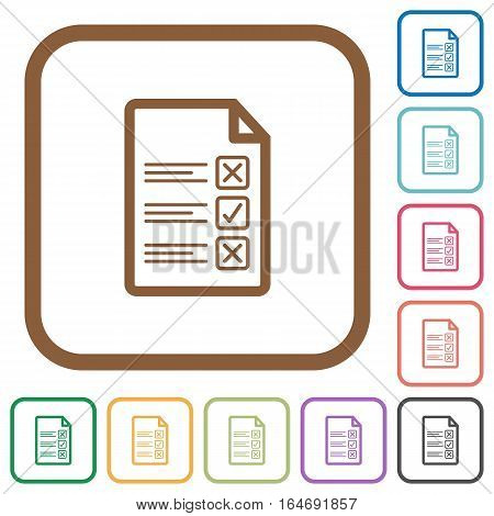 Questionnaire document simple icons in color rounded square frames on white background