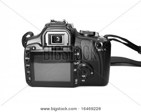 Professional digital camera over white background
