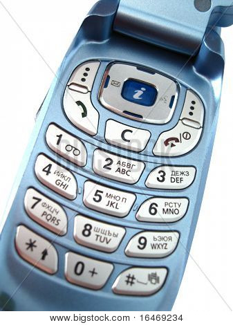 blue mobile phone over a white background