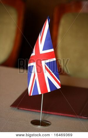 United Kingdom Flag on negotiating table