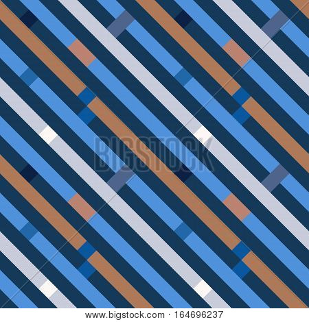 Seamless geometric stripy pattern. Texture of diagonal strips, lines. Rectangles on blue, orange, gray striped background. Vector
