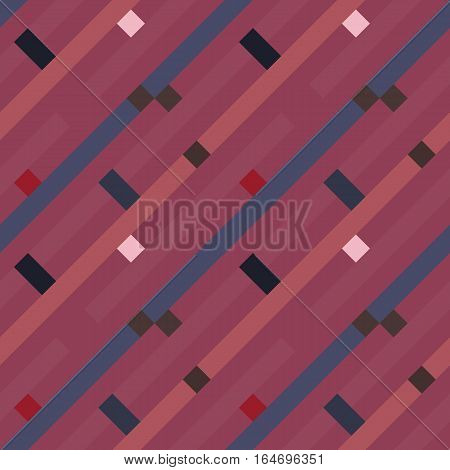 Seamless geometric stripy pattern. Texture of diagonal strips, lines and rectangles. Brown, rosybrown, blue pastel colored background. Labyrinth theme. Vector