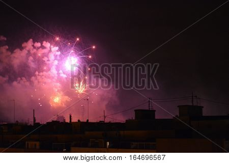 fireworks in the dark sky, pretty lights