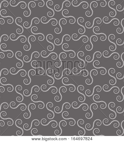 Spiral seamless lace pattern. Vintage abstract texture. Volute, twirl figures of laurel leaves. Gray contrast colored background. Vector