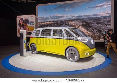 DETROIT MI/USA - JANUARY 10 2017: A Volkswagen I.D. BUZZ Concept van at the North American International Auto Show (NAIAS).
