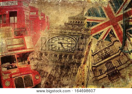 Vintage Textured Collage Of London Icons