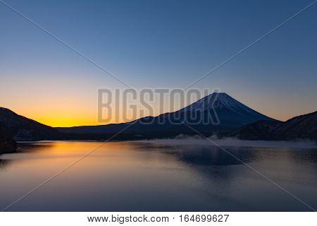 Mt.Fuji at Lake Motosu in winter morning