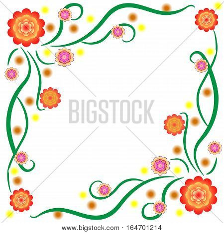 The pattern of bright stylized flowers with stems to decorate letterscardspost. Vector illustration