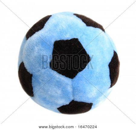 blue soccer ball over white