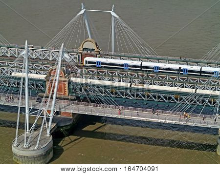 Aerial view of trains on a bridge