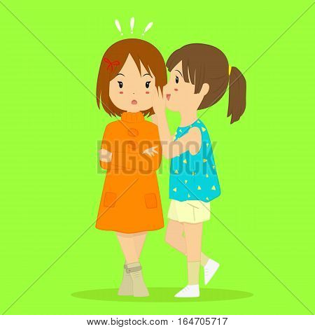 Illustration of a girl whispering something that shocked her friend.