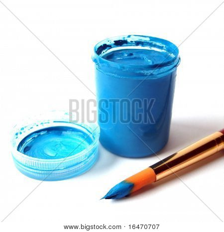 Brush and blue paint jar with gouache