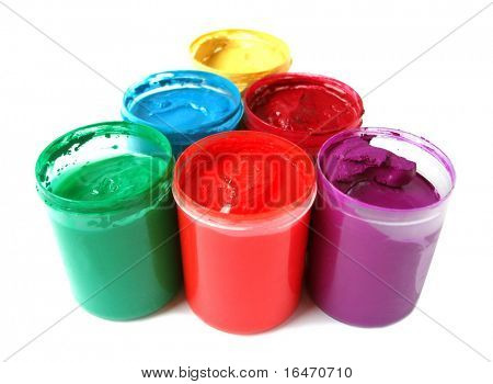 many paint jars with gouache on white background