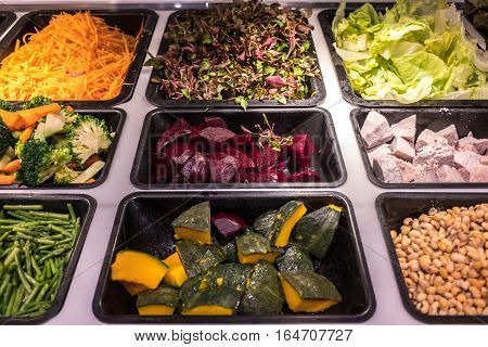 Variety of vegetables at the local salad bar