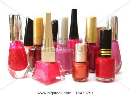 red and pink nail polish on white background