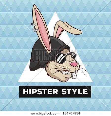 portrait fun rabbit hipster style furry geometric background vector illustration eps 10