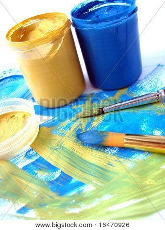blue and yellow paint jar with gouache