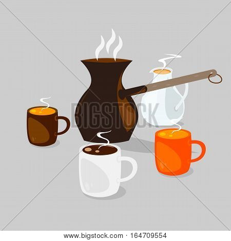 Three coffee cups with hot coffee with cream and coffee pot