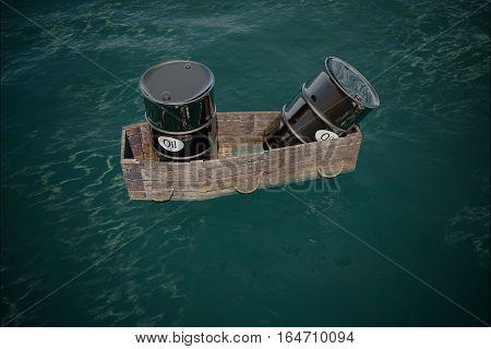 Oil barrel in water. price oil down. crisis concept. 3d rendering