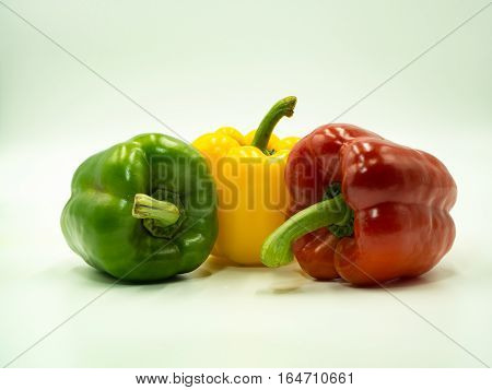 Colorful of paprika on white background sweet pepper bell pepper