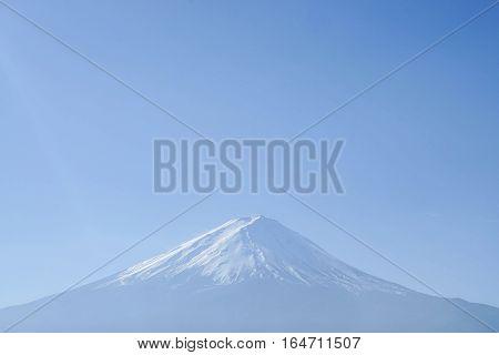 close up mt. Fuji in clear blue sky in winter season