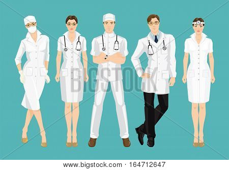 Group of professional people isolated on color background. Young doctor in medical gown and hat isolated on color background.