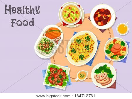 Diet dishes icon of beef roll with pepper, steamed meat with vegetables, vegetable millet soup, grilled lamb kebab, beef mushroom stew, cauliflower casserole, lentil pancake with cucumber salad