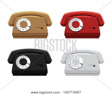 Vector illustration of retro color telephone isolated on white background