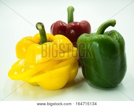 Paprika on white background sweet pepper bell pepper