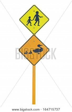 School area and Ducks warning traffic signs isolated on a white background