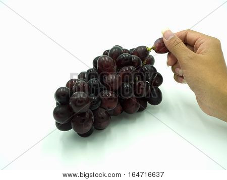 Woman's hand holding red grapes on isolate white background