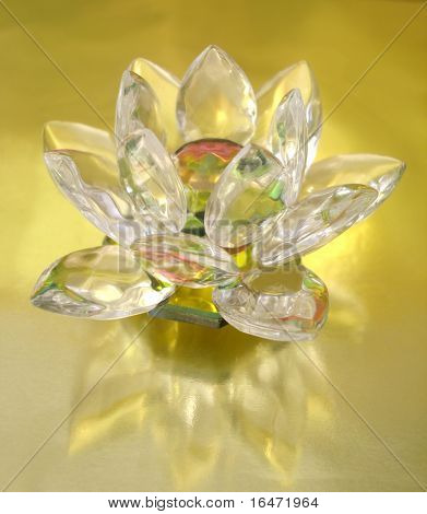 Diamond flower on golden background