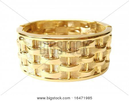 Close-up of golden bracelet isolated on white background
