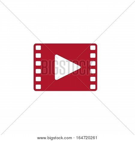 Flat Red Film Icon Vector with Play Button
