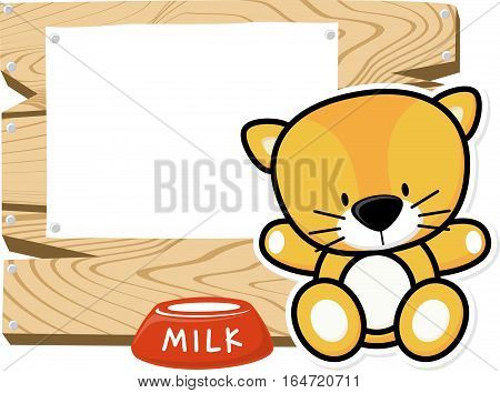 illustration of cute baby kitten on wooden board with blank sign isolated on white background