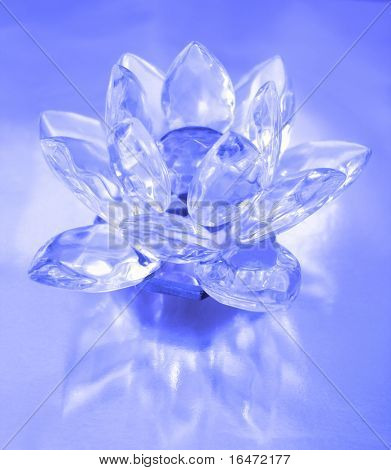 Diamond flower on blue background