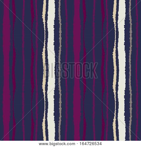 Seamless strip pattern. Vertical lines with torn paper effect. Shred edge texture. Purple, violet, cream dark colored background. Vector