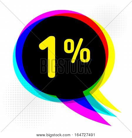 Speech Bubble in Pop-Art Style business concept with text one percent Discount vector illustration