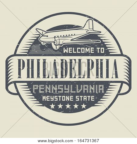 Grunge rubber stamp or tag with text Welcome to Philadelphia Pennsylvania vector illustration