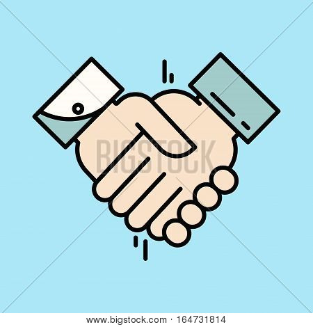 Partnership or Handshake icon. Teamwork and friendship. Business concept. Flat vector illustration. Flat design vector illustration.