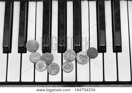Old piano keys and coins, concept pay for a music