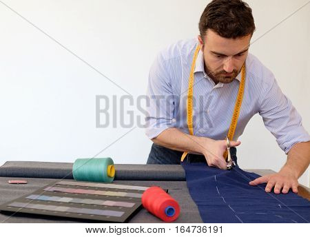 Tailor Man Working In Tailor Shop