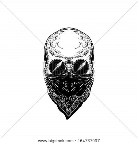 illustration of human skull with glasses, with hair and beard. Print for T-shirts