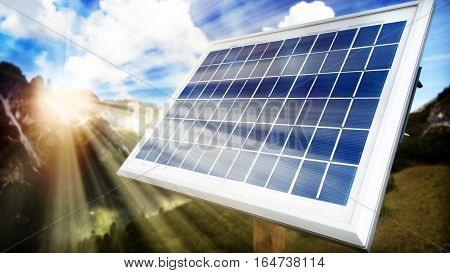 Solar panel in the mountains with sun and cloud in the sky