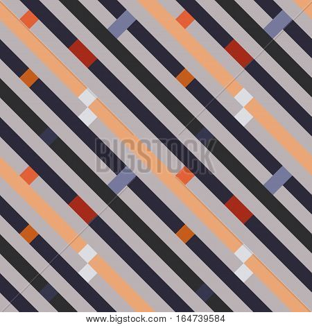 Seamless geometric stripy pattern. Texture of diagonal strips, lines. Rectangles on orange, gray striped background. Vector