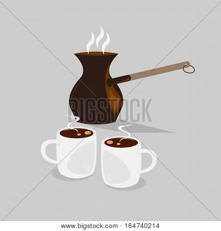 Coffe pot with two cups of black hot coffee