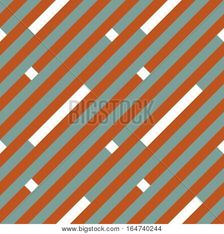 Seamless geometric stripy pattern. Texture of diagonal strips, lines. White rectangles on gray, orange striped background. Baby, children colored. Vector