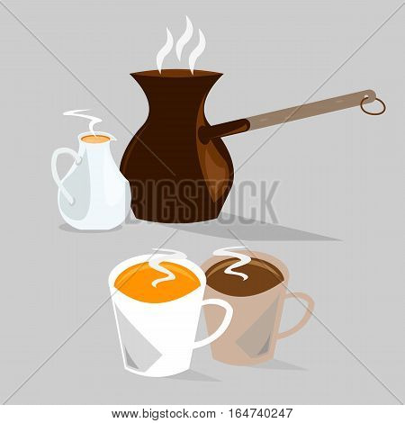 Two cups of hot coffee with coffee pot and milk pot