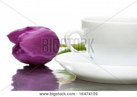 white cup of coffee with violet tulip